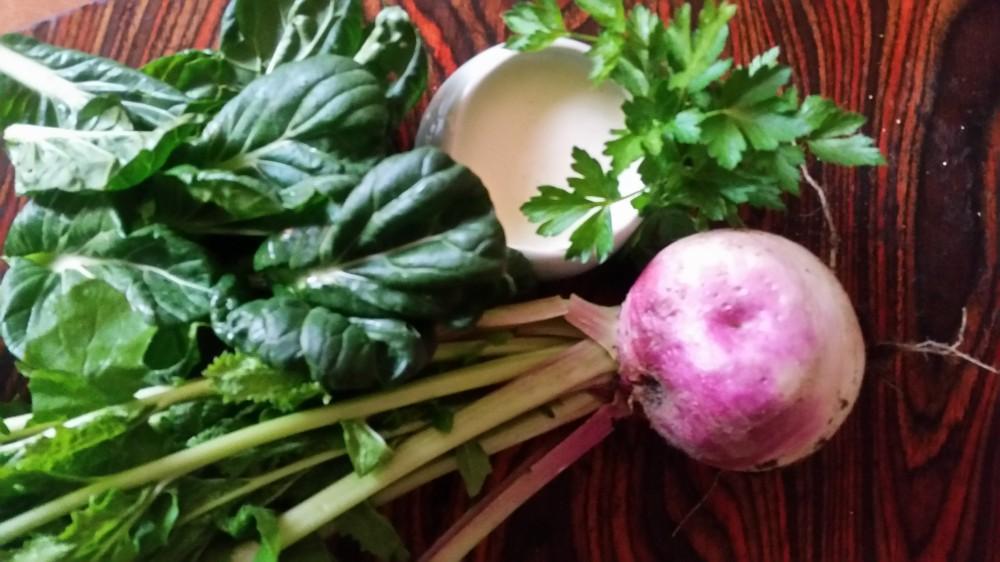 Creamy Turnip and Tatsoi Soup