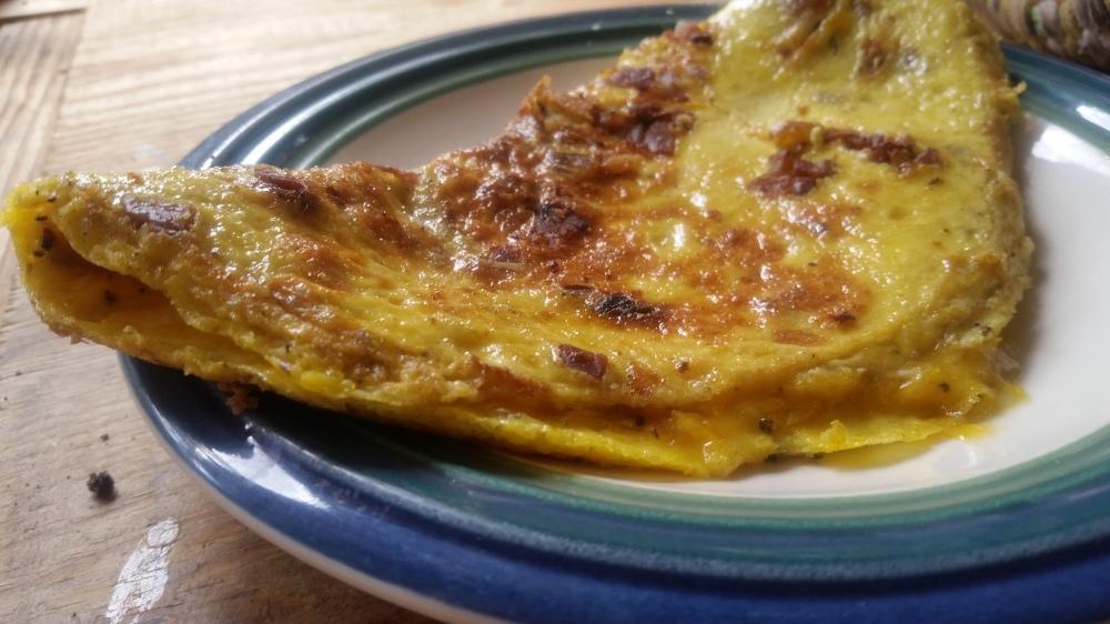 Omelette au jambon ham omelet